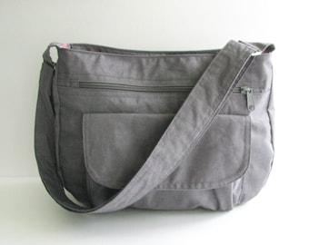 Sale - Grey Water Resistant Nylon Messenger Bag - Shoulder bag, Crossbody bag, Diaper bag, Tote, Travel bag, Women - PATTY