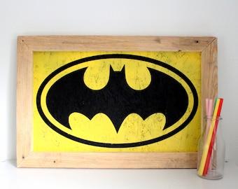 Batman Wall Art - Comic Book Art - DC Comics - Black and Yellow Batman - Gift for Geeks - Man Cave Decor - Christmas Gift