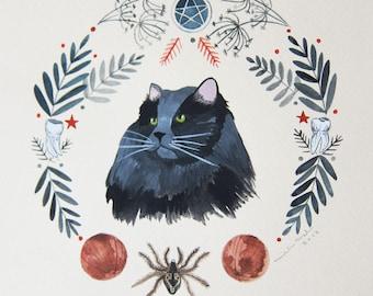 Art - Painting - Cat Painting - Original Art - Cat Witch - Witch Painting - Feline Familiar - Illustration Art - Witch Cat Art - Mothra