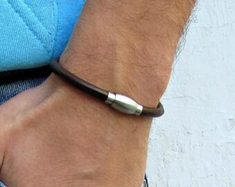 Stainless Steel Magnetic Clasp Mens Leather Bracelet, For Men, For Husband, Boyfriend Gift, Gift,  Men's Bracelet,  Mens Gift