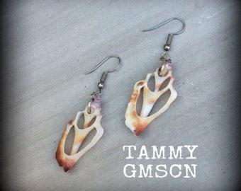 Conch earrings Shell slice earrings Mermaid earrings Aphrodite earrings Conch Sea shell slice earrings Boho earrings Beach earrings Tapers