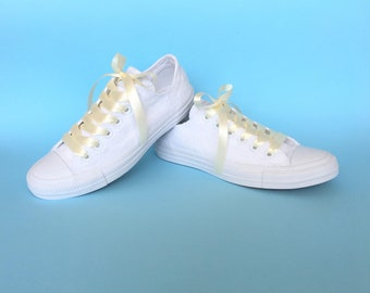 Converse wedding shoes for bride Converse customized Converse, Ivory Converse for women, Bridesmaid converse, Ivory wedding sneakers
