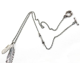 Silver Feather Necklace | Tribal Feather Charm | Silver Eagle Feather | Feather Pendant | Boho Charm | Silver Bone Charm | Layering Chain