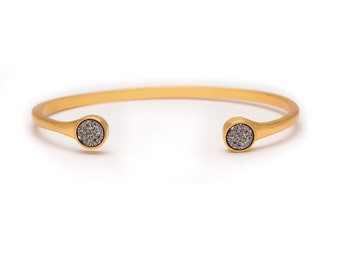 Druzy POP Cuff - Silver Druzy in Yellow Gold - Druzy / Drusy Bangle Bracelet - Druzy Cuff - Druzy Bangle - Druzy Bracelet