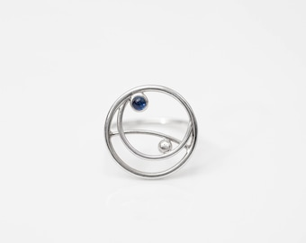 Circle ring, Blue sapphire ring, Modern silver ring, Minimalist ring sterling silver