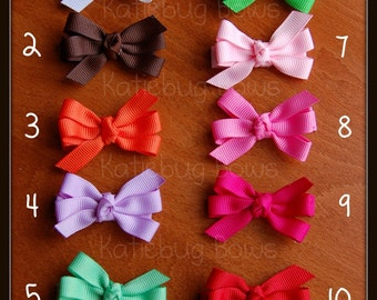 Small Hair Bows for Toddlers, Pick One, 2 inch Solid Color Pinwheel Bows - 25 color choices, Toddler Hairbows, Hair Bows for Babies