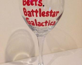 Bears Beets Battlestar Galactica Wine Glass - Dwight Schrute - The Office