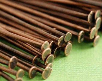 200pcs Antique Copper Headpins 45mm