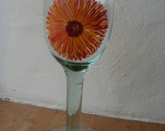 Hand Painted OOAK Wine Goblet