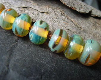 Handmade Lampwork Glass Bead Set. Jewelry Supply. Silvered Glass. Blue Green Topaz. 8 to 14mm. LWS-47