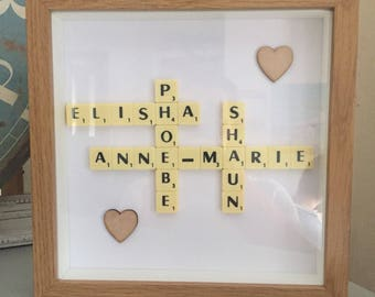 Personalised Scrabble Picture Frame Wood Effect
