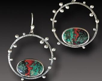 Sonora Sunrise Jasper  Earrings  Sterling Silver  Hoop Earrings
