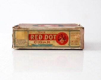 vintage Red Dot cigar box