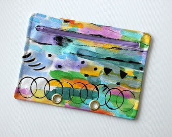 SALE Zipper pouch Cosmetic bag - Binder Folder, Pencil case, Hand painted, Abstract art, Stationery - 100% Cotton and Linen with Metal rings