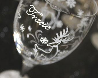 Reindeer Wine Glass, Winter Glasses, Snowflake Water Iced Tea Goblets, Christmas Glassware, Holidays Stemware, Personalized, Painted, Custom