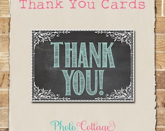 Thank You Cards, Teal Thank You Card, Chalkboard Thank You, Bridal Thank You, Wedding Thank You, BS102