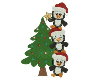 Penguins with Christmas Tree Filled Machine Embroidery Digitized Design Pattern - instant download - 4x4 , 5x7, and 6x10 -hoops