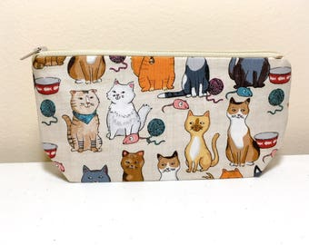 Cat Pencil Case Pouch Organizer Zippered Pouch Makeup Bag