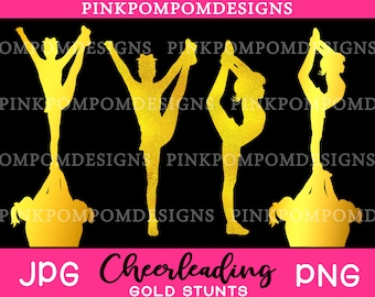 Gold cheerleading clipart set - gold stunt – gold cheerleader - Personal and Commercial use - gold cheerleading stunt - png jpg