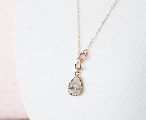 Rose Gold Cubic Zirconia Teardrop and Mini Infinity Lariat, Y Necklace, sister, best friends, mom, bridesmaid necklace, rose gold weddings