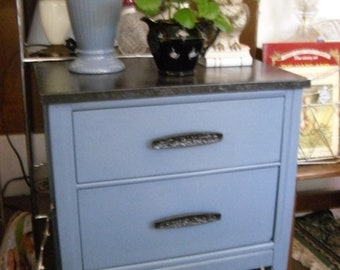 Two Drawer Nightstand or End Table Painted Furniture Home Decor