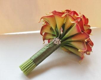Orange Red Calla Lily bouquet, Coral Bridal Bouquet, wedding bouquet