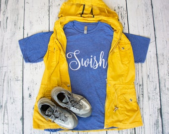 Swish basketball tee shirt great for players or basketball moms 7 colors team spirit baller boutique top layering tee team mom spirit