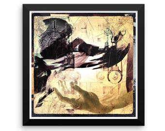 Framed Art, Original Art Print, Framed Wall Art, Mixed Media Collage, Original Artwork, Poster Print, Ready to Hang