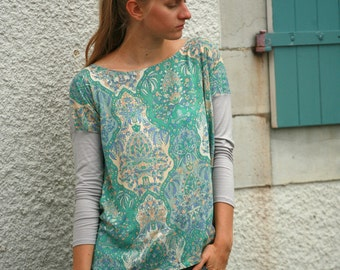 Light jersey and pastel teal ornaments viscose tunic, square cut