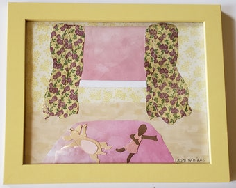 Strawberry Lemonade:Sunbathing-Framed Original Paper Craft Illustration
