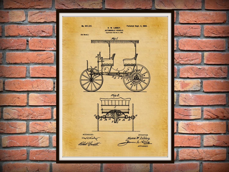 Patent 1900 Automobile Vehicle - Art Print - Wall Art - Motorized ...