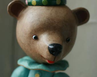 Toy bear, teddy bear, papier-mache, paper, colored paper