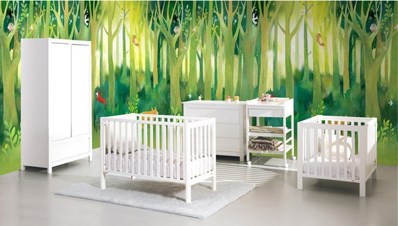 Forest Fantasy Nursery Wallpaper Baby Room Wall Decal Art