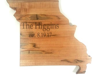 Missouri Hand Made State Cutting Board,Personalized Missouri State Cutting Board, Missouri Kitchen Decor, State Shaped Board, Missouri Gift