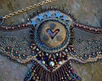 Spread Your Wings - Bead Embroidery Necklace