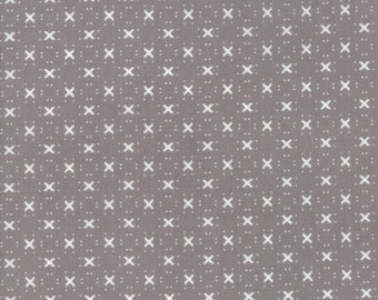 Nest Fabric by Lella Boutiquee for Moda, #5065-17, Pebble with X, grey, stone, dark grey - IN STOCK