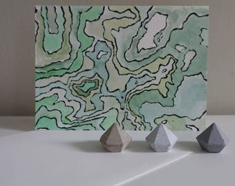 Topographical Map Linocut Card