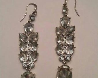 Vintage Rhinestone Silver Earrings Dangle Statement