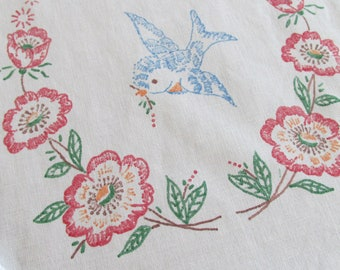 E29 – Vintage Liquid Embroidered Runner Scarf Blue Birds Happiness Lace 36 x 12
