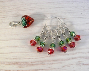 Strawberry Fields Stitch Markers Set, Stitch Markers, Crochet Markers, Knitting Accessories, Beaded Markers, Enamel Charm, Strawberry, Love,