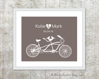 Wedding Personalized Couples Print - Love Poster- Tandem Bike and birds - Wall Art - Taupe Brown
