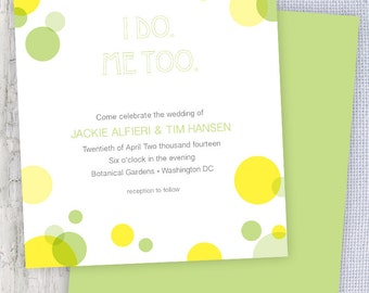 Spring Dots Printable Wedding Invitation & RSVP in Green and Yellow