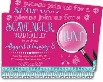 Scavenger Hunt Birthday Invitation, Mall Madness Invitation, Road Rally, Card, Invite, Digital, Print file, Instant Download