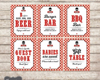 Baby Q Shower Signs Set of 6, Printable Bbq Baby Shower Sign, Baby Q Decorations, Printable PDF File, INSTANT DOWNLOAD