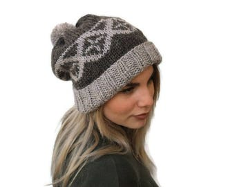 Knit Fair Isle Hat, knit pom pom hat, Women knit hat, Winter Hat, Knit Beanie Hat, Alpaca Hat, Rolled Brim hat, Choose your color