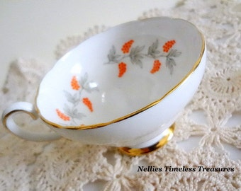 Crown Staffordshire English Fine Bone China Tea Cup Orange Grape Berry Gold Trim Replacement China Vintage Tea Cup Eden Red Pattern