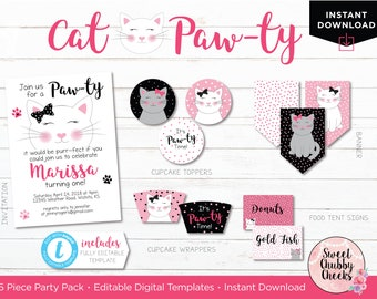 Cat Birthday Party Printables...Editable Invitation and Party Printable Mini Pack...Cat Birthday Party Decorations...Kitty Party Printables