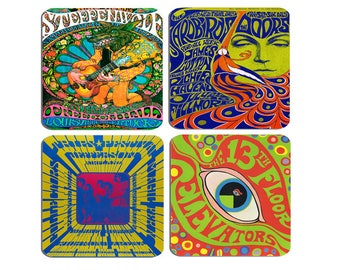 Psychedelic Concert Poster Coasters Set Of 4. High Quality Cork Backed Drinks Coaster. Jefferson Airplane, Steppenwolf 60's Music Gift