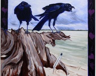 Ravens (acrylic painting, gulf of mexico, gulf coast, coastal, wind, dark storm, seascape, fierce creatures, southern wild, feather)