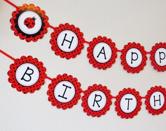Red Ladybug Party Happy Birthday Banner / First Birthday Party / Baby Nursery - Printable - FILE to PRINT DIY